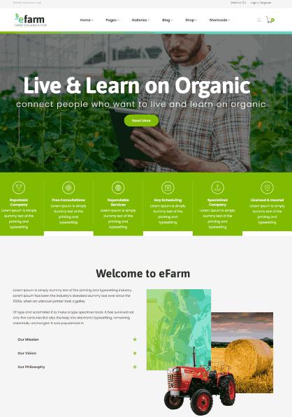 eFarm a organic farming website template