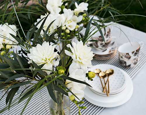 Tea Party Flowers on table