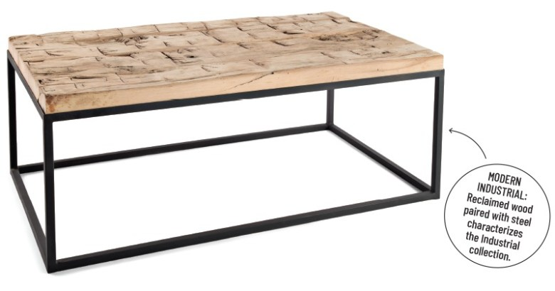 Peter Thomas Designs - Industrial Coffee Table with Hand Hewn Top