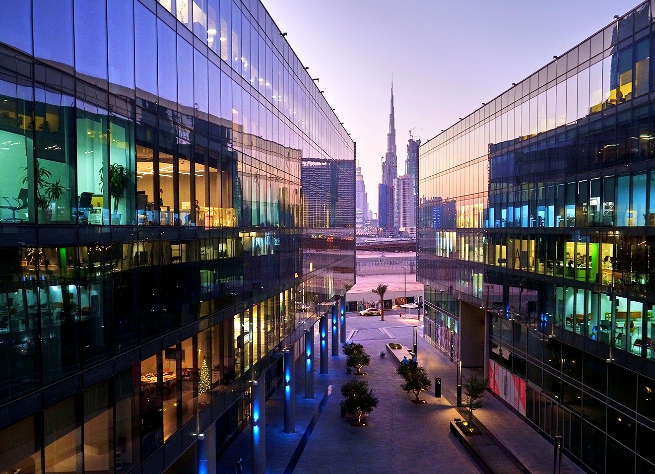 Dubai Design District durring a sunset
