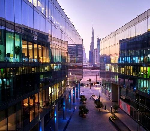 Dubai Design District durring a sunset