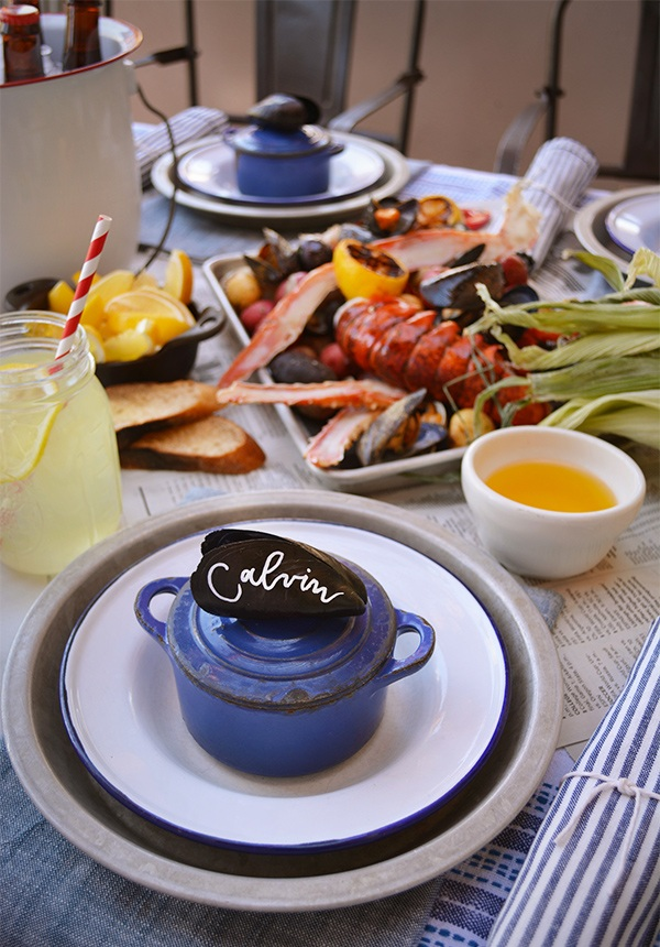 Clambake table setting
