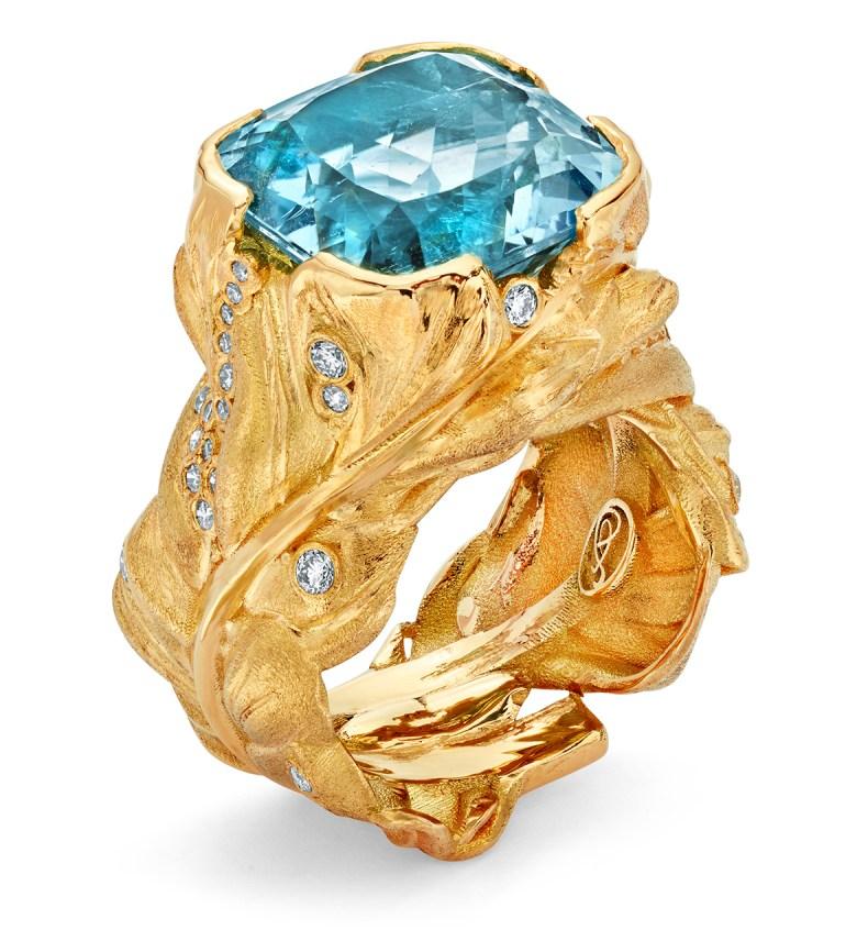 Adam Foster Aquamarine Feather Ring