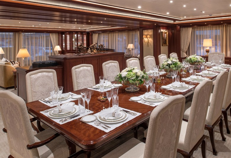 ARETI yacht dining room