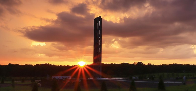 Flight 93 Memorial Tower of Voices at sunset