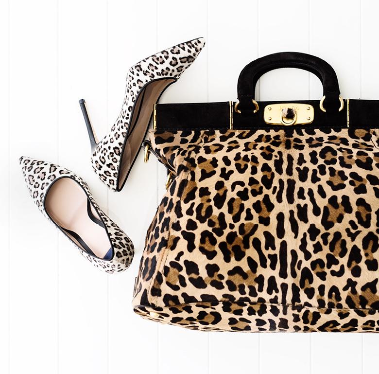 animal print bag and shoes