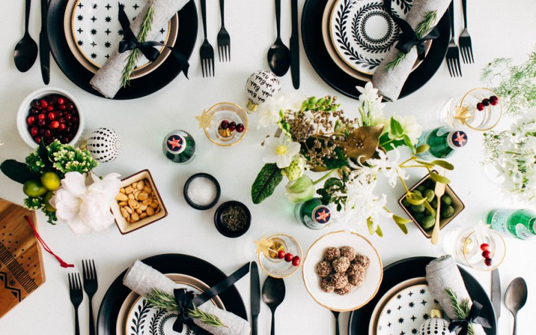 Black and White New Year's Eve Tablescape
