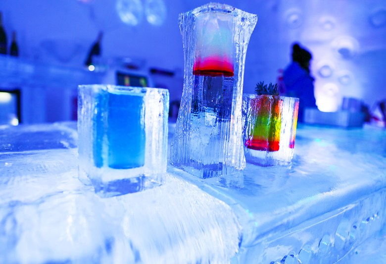 HOTEL DE GLACE – Quebec City, Quebec, Canada - Ice Hotel - bar and drinks