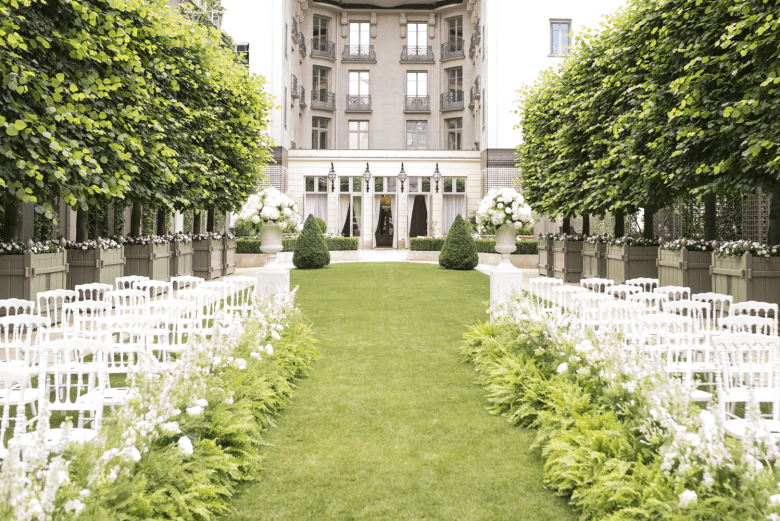 Wedding Ceremony Set Up at the Grand Jardin, Ritz in Paris