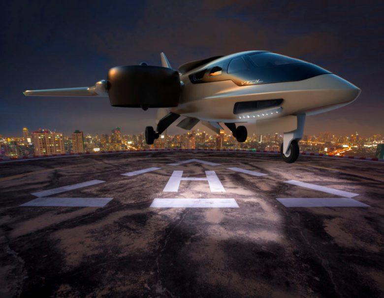 XTI TriFan 600 on a Helipad at Night
