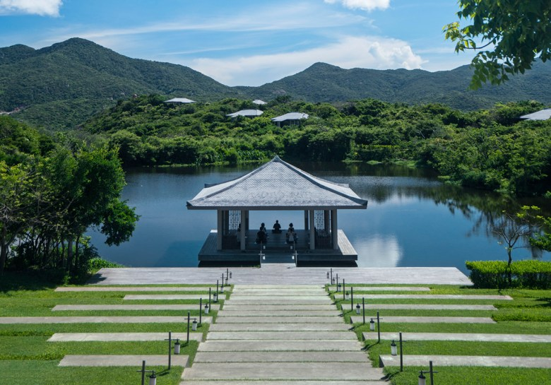 Amanoi Spa Yoga pavilion on spa lake Vietnam