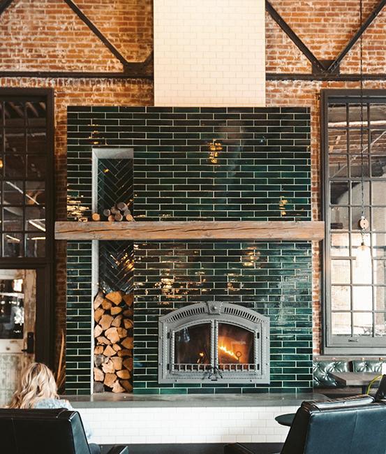Mercury Mosaics custom tile fireplace