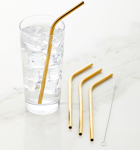 use less plastic with stainless straws