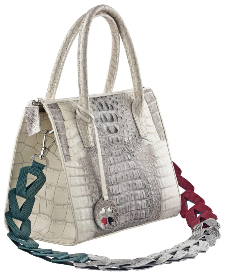 Suzan-Lee-Red-Green-strap handbag