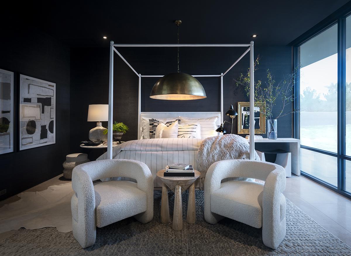 ICONIC HAUS romantic bedroom by Jaimee Rose Interiors