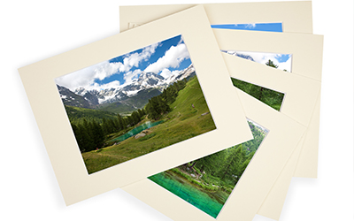 photos matted with matboard for presentation