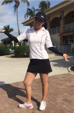 Esther Choe, LPGA Symmetra Tour player looks sharp in iconic's crazy cat top, simple skort and sunsleeves