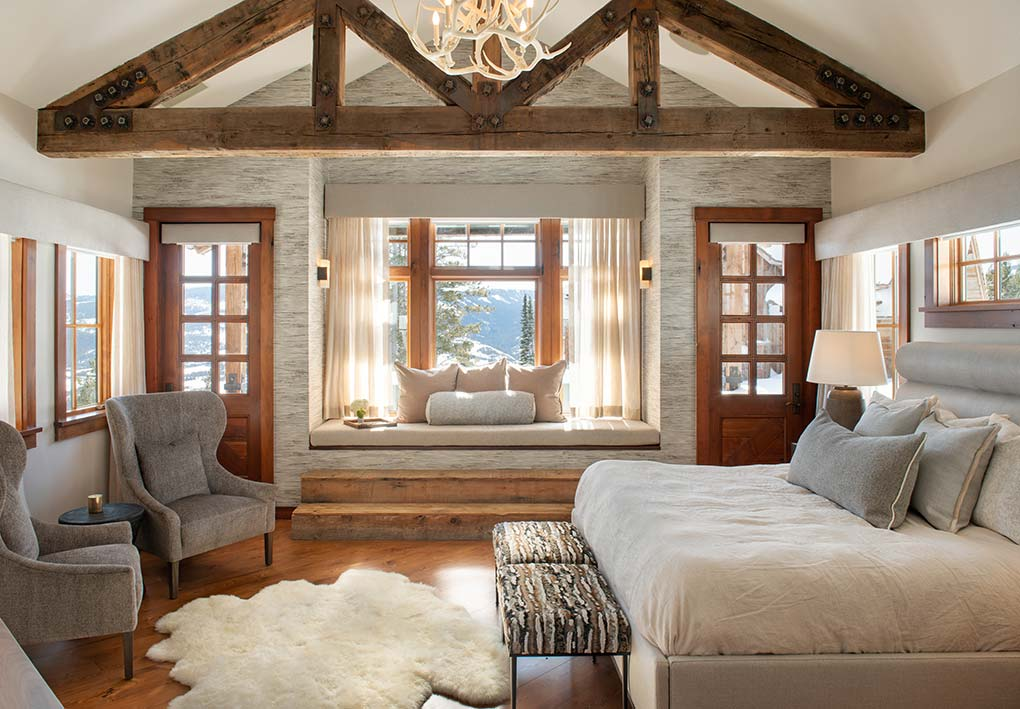 Interior design bedroom with mountain views
