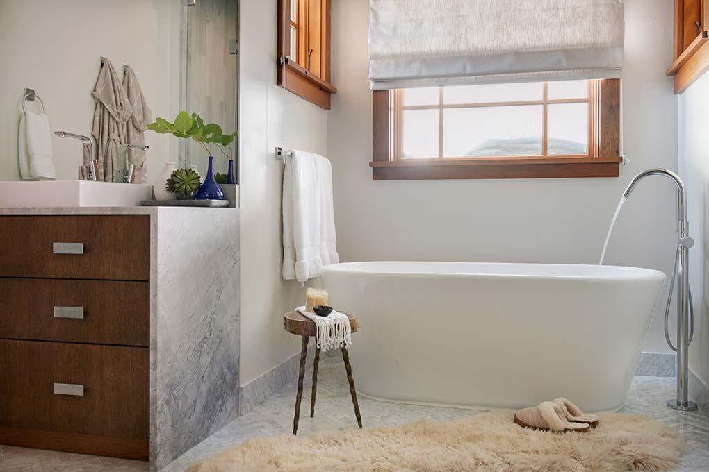 Interior designed master bathroom