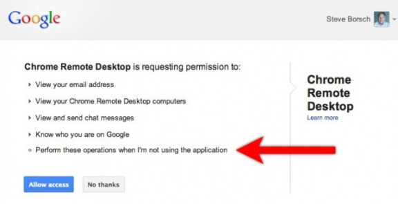 Chrome Remote Desktop 'agreement'