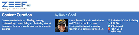 Robin Good's curated Content Curation links page at Zeef