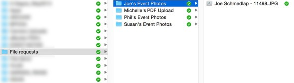 In this screenshot you can see that I've already requested a PDF file upload from Michelle and photos taken at an event by Joe, Susan and Phil. You can see how Dropbox automatically creates a hierarchical folder structure that makes it easy to see what has been uploaded and by whom.