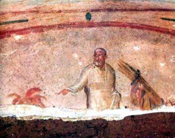 Catacumba Sta. Priscilla. Abramam y el Sacrificio de Isaac.