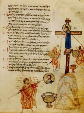 """Miniatura bizantina IX sec. (857-865), Salterio di Chludov (MoscaMusStor)Salterio de Chludov. Folio 67. """"En mi comida me echaron hiel, para mi sed me dieron vinagre"""" (Salmo 68, 22). Abajo un inconoclasta está tapando con cal un icono de Cristo."""