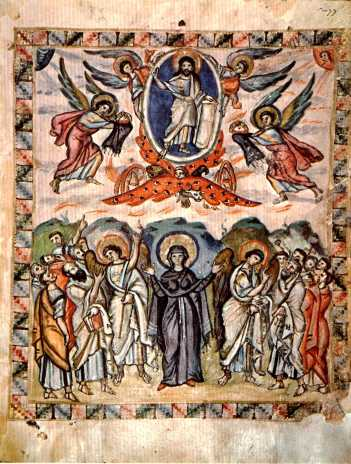 Ascensión-Glorificación de Cristo, evangeliario de Rabbula, Biblioteca Medicea-Laurenziana. Cfr. de.academic.ru