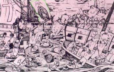 El Almirante genovés Juan Andrea Doria puso una copia de la Imagen como estandarte de su nave capitana en la batalla de Lepanto, 7 de octubre de 1571. Ese día las naves cristianas obtuvieron una inesperada victoria frente a la flota turca, mas del doble en número y poderío. El Almirante Doria atribuyó el triunfo a la intercesión de la Virgen de Guadalupe y la llevó en medio de grandes honores a San Esteban D'Areto, donde la entronizó.