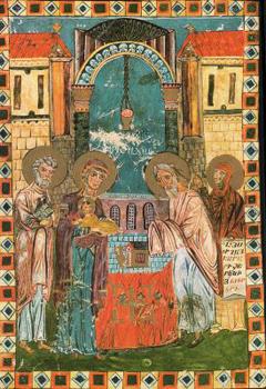 II. Presentación de Jesús en el Templo, miniatura armenia, Evangeliario de Moghní, s. XI.