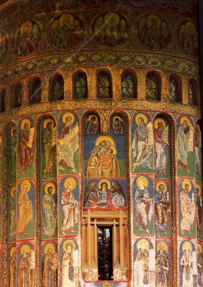 Simeón y e Niño, fresco, 1488-1547, ábside lateral, iglesia del Monasterio de Voronetz, Rumania.
