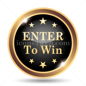Enter to win icon. Enter to win website button on white background - Icons for your website