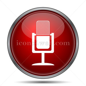 Microphone icon. Red microphone button on white background - Icons 4 web