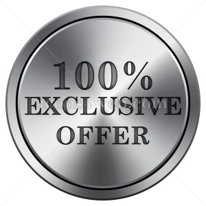 100% exclusive offer icon. Round icon imitating metal. - Buy Icons for your website