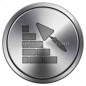 Building wall icon. Round icon imitating metal. - Buy Icons for your website