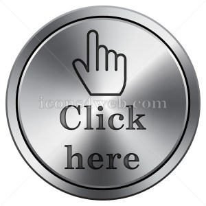 Click here icon imitating metal with carved design. Round icon with border. - Icons for your website