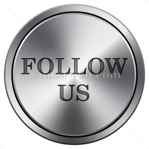 Follow us icon. Round icon imitating metal. Follow us button - Icons for your website