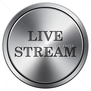 Live stream icon imitating metal with carved design. Round icon. - Icons for your website