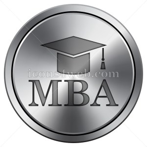 MBA icon. Round icon imitating metal. - Buy Icons for your website