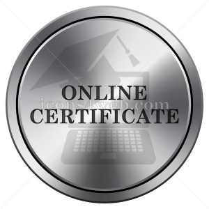 Online certificate icon. Round icon imitating metal. - Buy Icons for your website