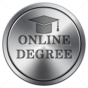 Online degree icon. Round icon imitating metal. - Buy Icons for your website