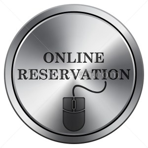 Online reservation icon. Round icon imitating metal. - Icons for your website
