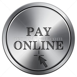 Pay online icon. Round icon imitating metal. - Icons for your website