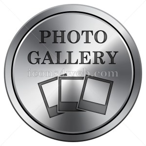 Photo gallery icon. Round icon imitating metal. Photo gallery button. - Icons for your website