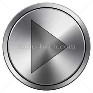 Play sign icon imitating metal with carved design. Round icon with border. - Icons for your website