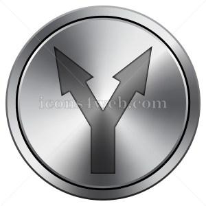 Split arrow icon. Round icon imitating metal. - Icons for your website