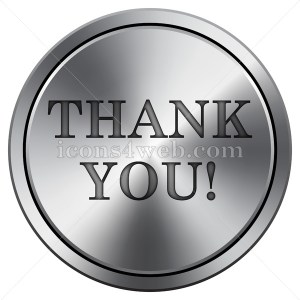 Thank you icon. Round icon imitating metal. Thank you button. - Icons for your website