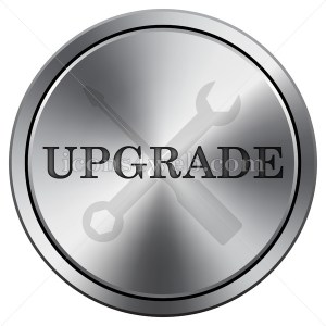 Upgrade icon. Round icon imitating metal. Upgrade round button. - Icons for your website