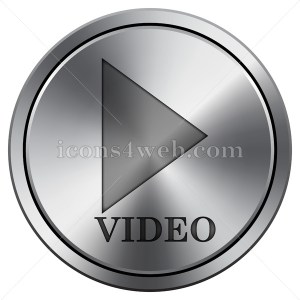 Video play icon imitating metal with carved design. Round icon with border. - Icons for your website